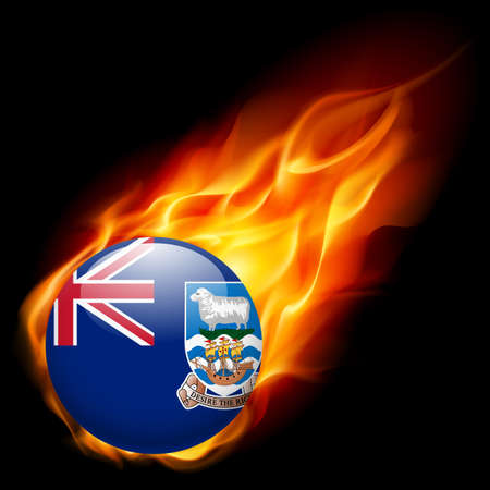 burn: Flag of Falkland Islands as round glossy icon burning in flame