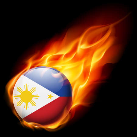 philippines: Flag of Philippines as round glossy icon burning in flame