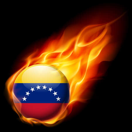 latin: Flag of  Venezuela as round glossy icon burning in flame Illustration