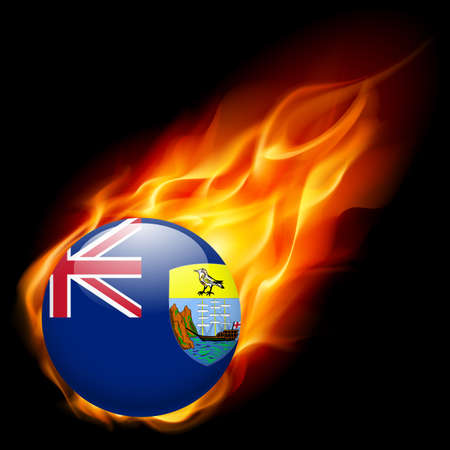 exile: A round badge in the colours of Saint Helena flag burning in flame