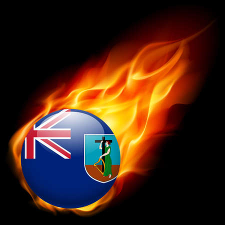 montserrat: A round badge in the colours of Montserrat island flag burning in flame