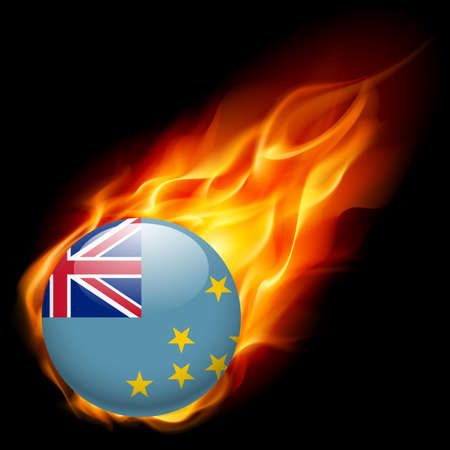 smallest: A round badge in the colours of Tuvalu flag burning in flame