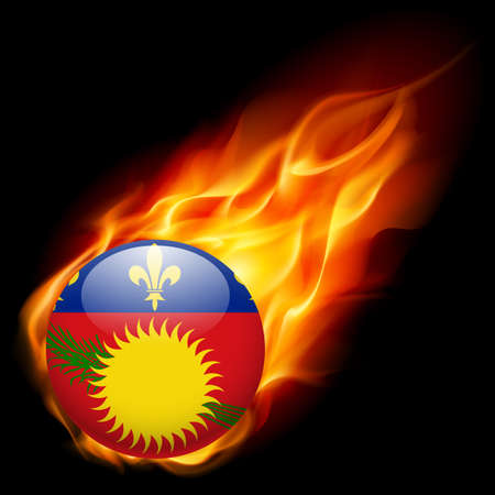 unofficial: A round badge in the colours of Guadeloupe islands flag burning in flame