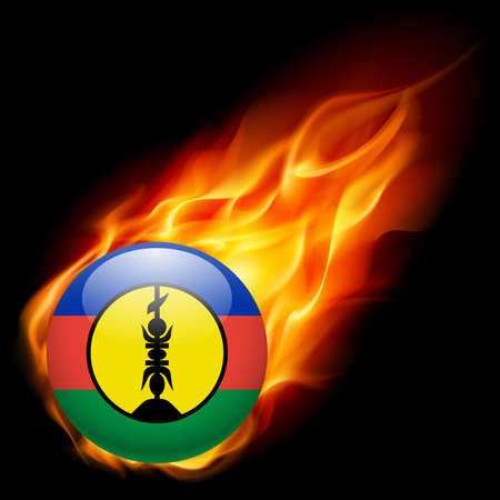 burn: Flag of New Caledonia as round glossy icon burning in flame