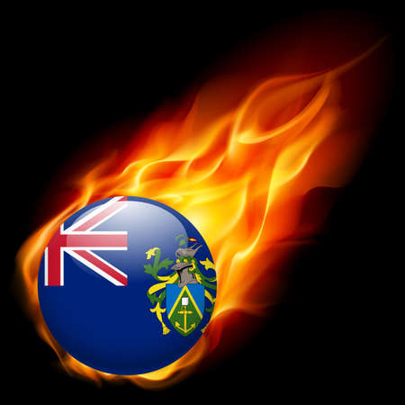 pitcairn: A round badge in the colours of The Pitcairn islands flag burning in flame