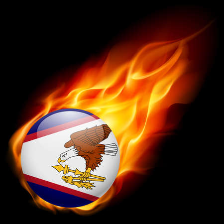 samoa: Flag of American Samoa as round glossy icon burning in flame Illustration