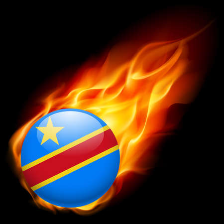 burn: Flag of Democratic Republic of the Congo as round glossy icon burning in flame Illustration