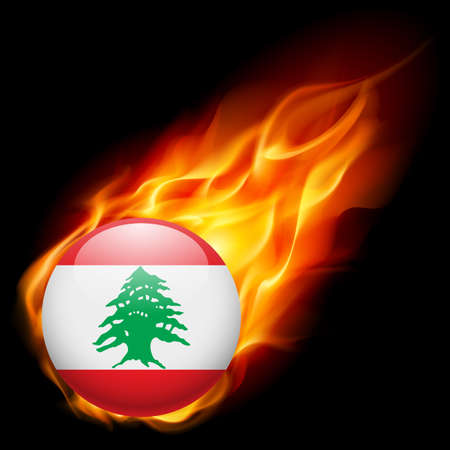 burn: Flag of Lebanese Republic as round glossy icon burning in flame