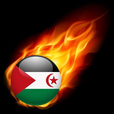 sahrawi arab democratic republic: Flag of Sahrawi Arab Democratic Republic as round glossy icon burning in flame