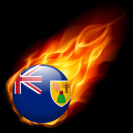 the turks: Flag of Turks and Caicos Islands as round glossy icon burning in flame
