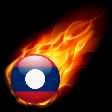 burn: A round badge in the colours of Laos flag burning in flame Illustration
