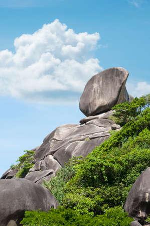similan: Stone rock Similan Islands Thailand, Phuket on sky background Stock Photo