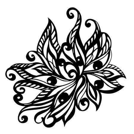 白い背景で隔離の装飾花の要素  イラスト・ベクター素材