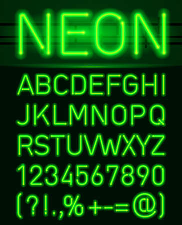Neon Green Light Alphabe. Neon tube letters on a dark background