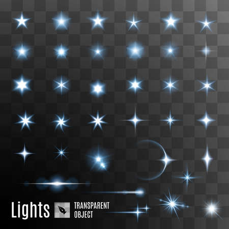 flare: Set of glowing light effect stars bursts with sparkles on transparent background