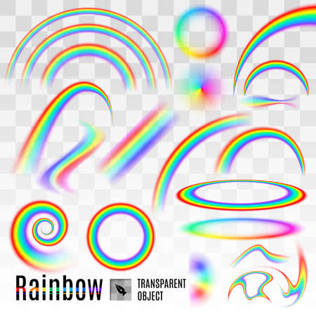 Rainbow set elements wave and circle isolated