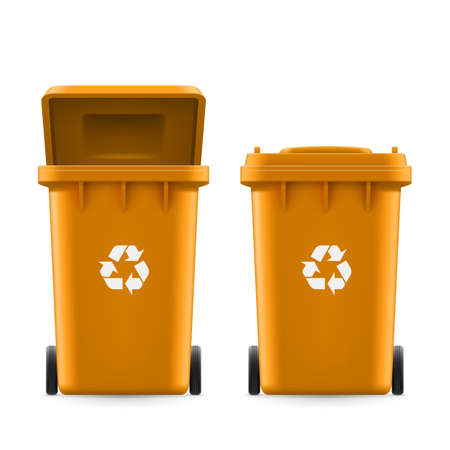 Set di secchi di colore arancione per la spazzatura con il segno freccia Vettoriali