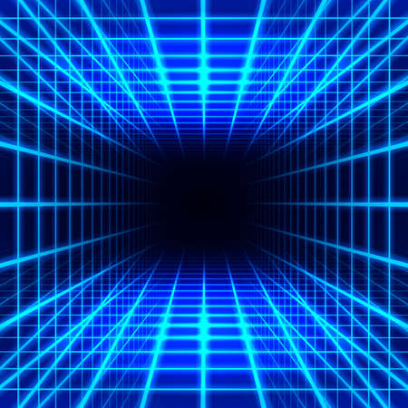 3d dimensional: Blue dimensional grid space on black background