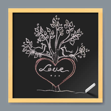 birds in tree: Valentines day greeting card. Hand drawn heart, tree and birds shape in a chalk board drawing