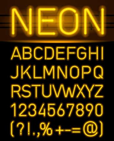 Oranje set neon lettertype en symbolen geïsoleerd op zwart