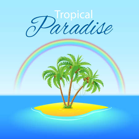 summer trees: Summer background with Palm trees and Rainbow on Paradise island Illustration
