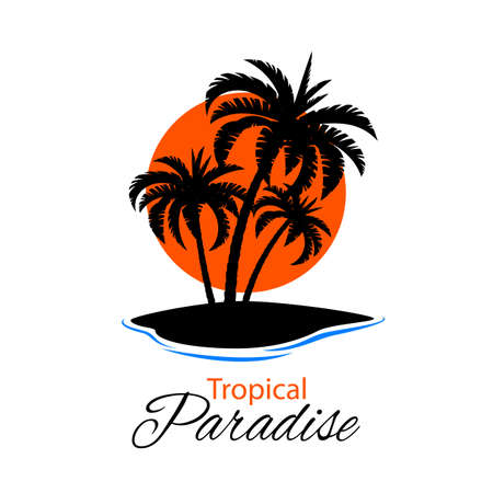 arbres silhouette: Belle et simple illustration avec îlot silhouette avec des palmiers et le coucher du soleil Illustration