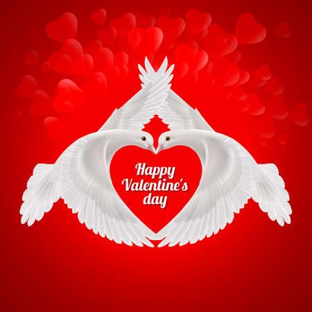Twee witte duiven de vorm van de vleugels van het rode hart. symbool van de liefde