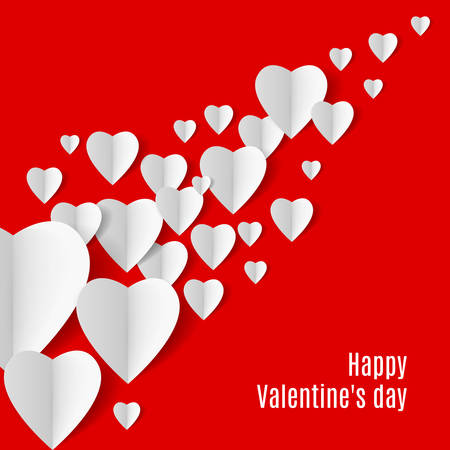 paper cut out: Red Background with several white folded paper hearts Illustration