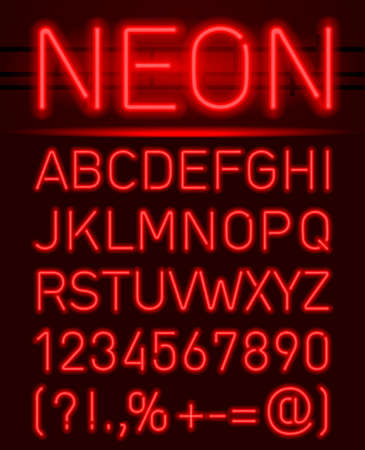 Red set neon font and symbols isolated on black Ilustração