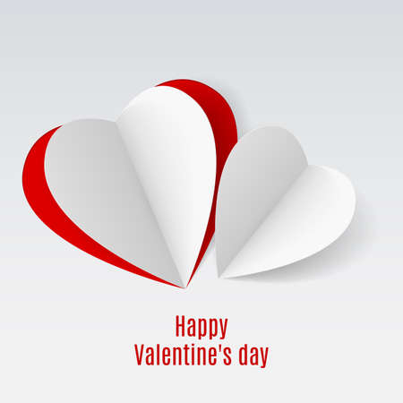 folded paper: Red and white folded paper hearts. Valentine card on white for design