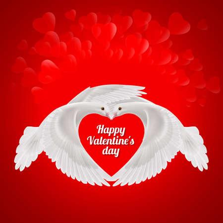paloma de la paz: Dos palomas blancas hace que la forma de las alas del corazón rojo. símbolo del amor