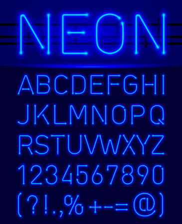 Blue set neon font and symbols isolated on black Illustration