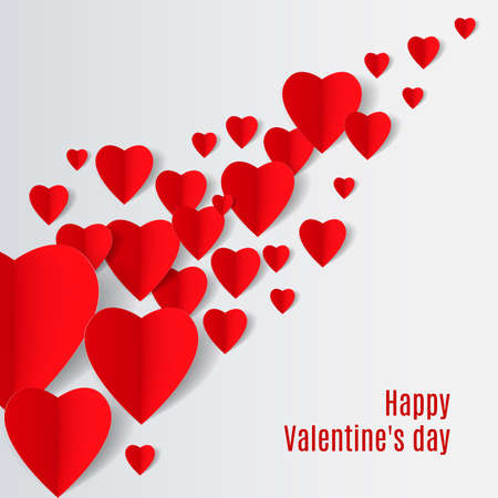 folded paper: White Background with several red folded paper hearts