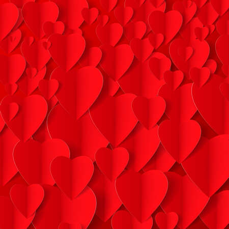 folded paper: Romantic red background made of folded paper hearts