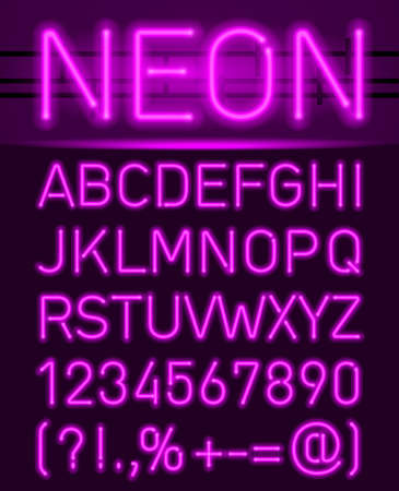 Purple set neon font and symbols isolated on black Vectores