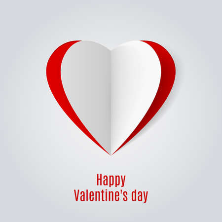 relationships: Red and white folded paper hearts. Valentine card on white