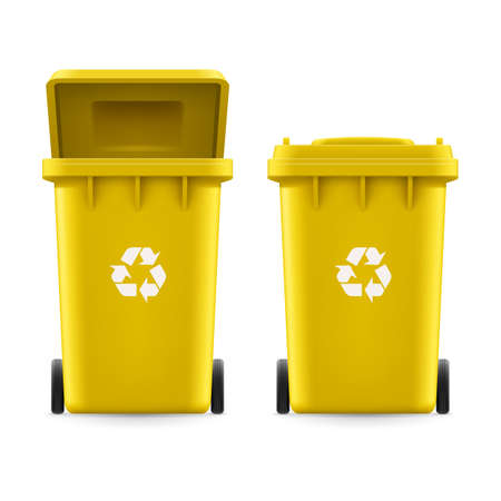 utilize: Set of yellow buckets for trash with sign arrow