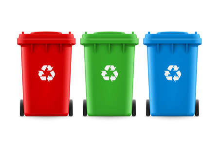 utilize: Set of red green and blue buckets for trash with sign arrow