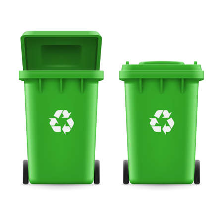 utilize: Set of green buckets for trash with sign arrow Illustration
