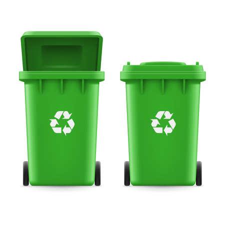 wastebasket: Set of green buckets for trash with sign arrow Illustration