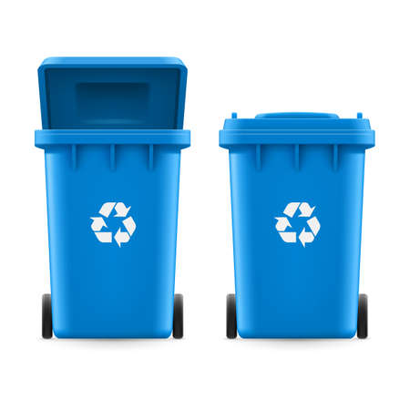 buckets: Set of blue buckets for trash with sign arrow