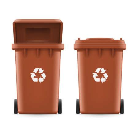 reciclar: Conjunto de cubos de color marrón para la basura con el signo de la flecha