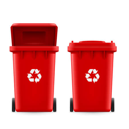 utilize: Set of red buckets for trash with sign arrow