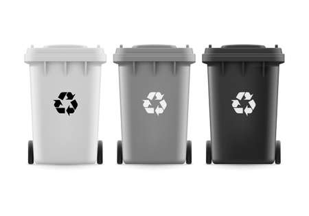 utilize: Set of white grat and black buckets for trash with sign arrow