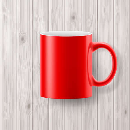 red cup: Red cup or mug isolated on wooden backdrop