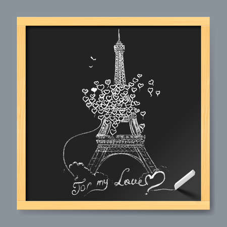 monumental: Typographical Retro Style Poster With Paris Symbols in Fly Hearts
