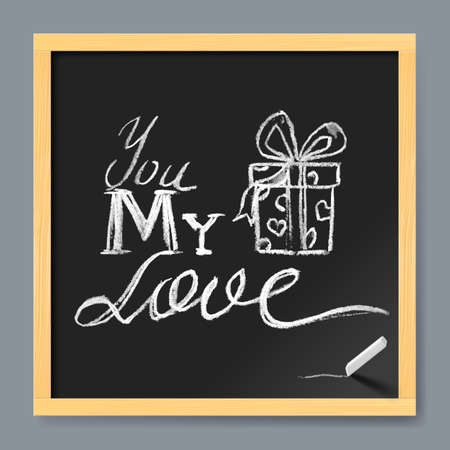 message board: Love typographical message on the chalk board Illustration