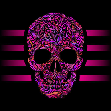 DESIGN: Floral pattern of form color skull. Pink stripes. Emo on black Illustration