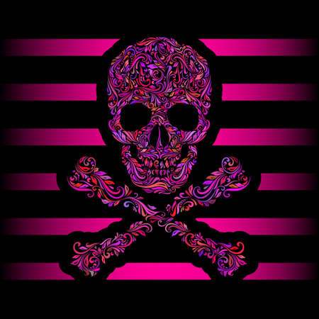 pink stripes: Floral pattern of form color skull and crossbones. Pink stripes. Emo Illustration