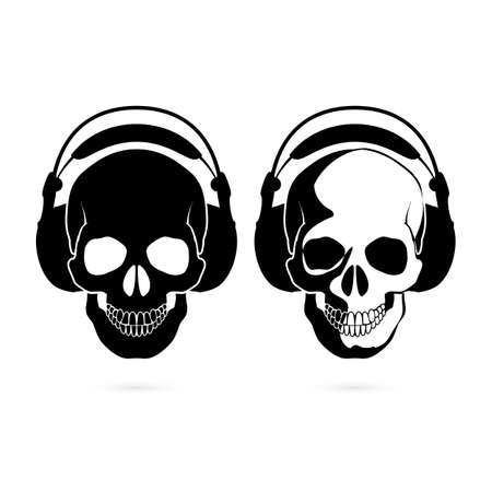 death metal: Two black and white skulls with headphone. Music fan Illustration